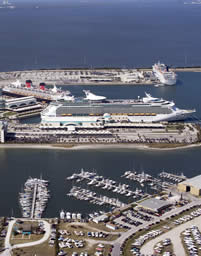 aeriel view of cruise port canaveral